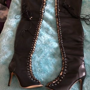 Black Leather thigh high boots, new in box